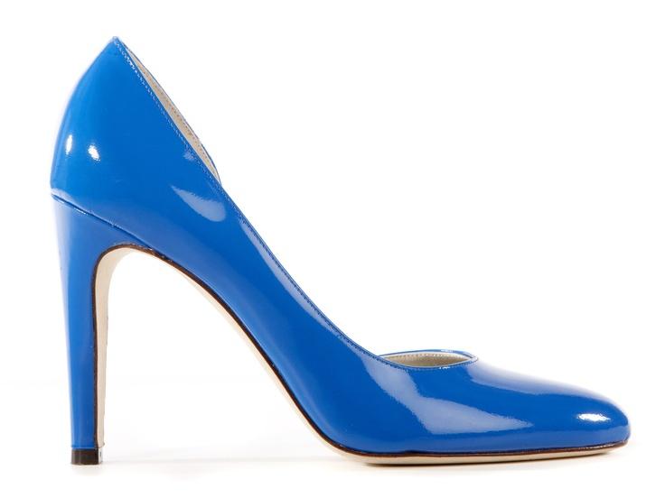 Fluo blue patent high heels