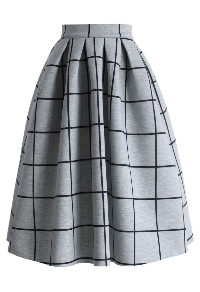 Grid Print Pleated Midi Skirt - New Arrivals - Retro, Indie and Unique Fashion