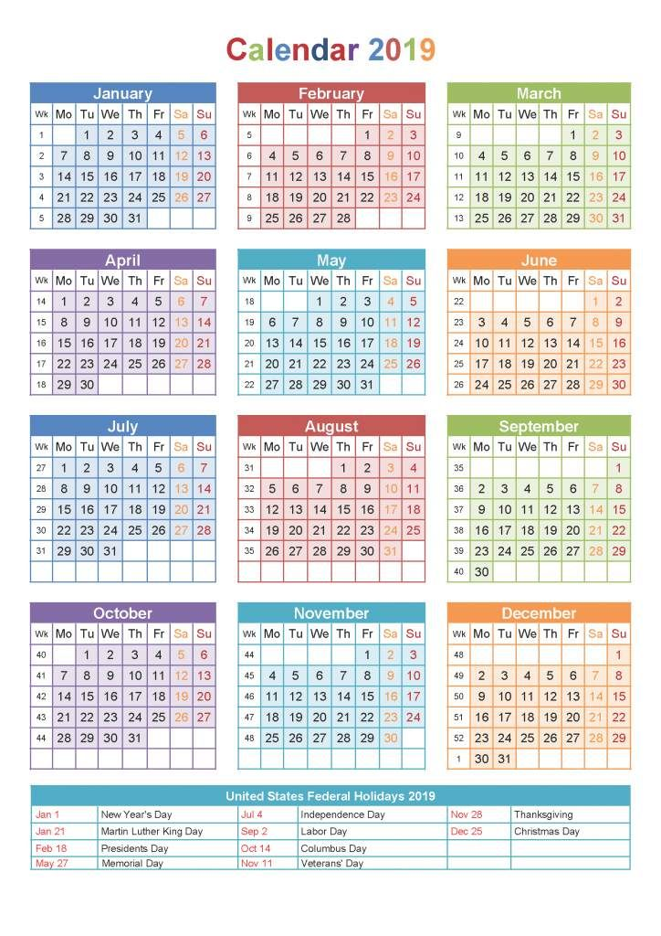 One Page 2019 Printable Colored Calendar 2019 Calendars