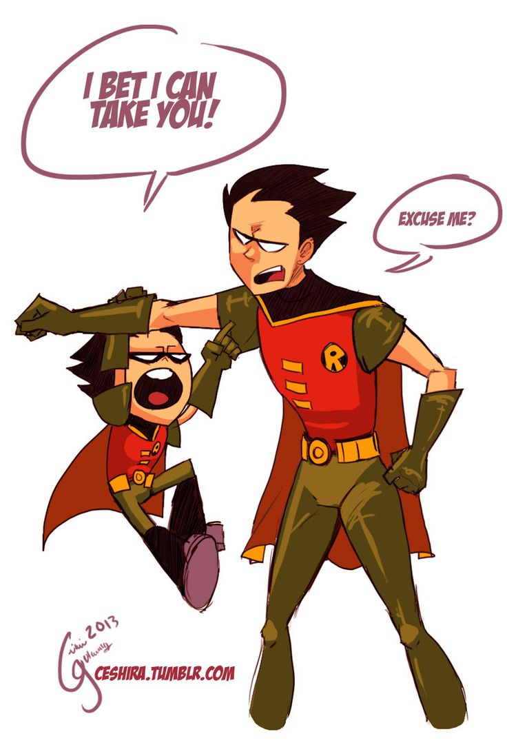"This shows the difference between Robin from ""Teen Titans"" and Robin from Cartoon Network's ""Teen Titans GO!"" Robin is very cool, collected, and calm in Teen Titans, while CN's new Robin is extremely hyper, ready to jump at anything, and is actually extremely annoying, yet hilarious."