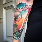 Tattoo Schirm im Glas Farbig