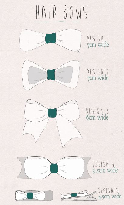 A collection of styles of a hair bows I currently make. Illustrated by myself.