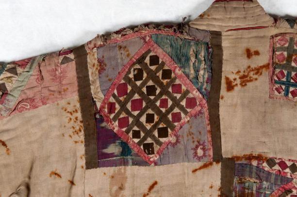 Detail van een soefi-mantel, muraqqa'a of khirq'a, Saoedi Arabië/Oezbekistan, vóór 1885, collectie Nationaal Museum van Wereldculturen.