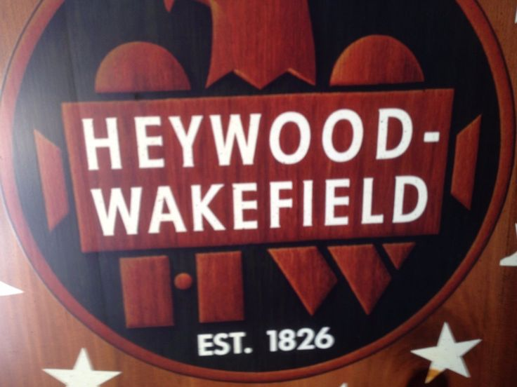 Heywood Wakefield Furniture Store Sign Merchant Double Sided Advertisement Vtg