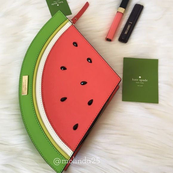 """Kate Spade Watermelon Make A Splash Clutch 100% Authentic Kate Spade Watermelon Make A Splash ClutchLong zip closure 3 card slots on the inside & black interior liningApprox. measurements: Longest Width: 12"""" x 9""""H x 1"""" D  Please no trades or PP. Reasonable offers welcome  kate spade Bags Clutches & Wristlets"""