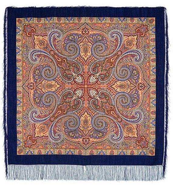 russian shawl 53 wool with silk fringe genuine by LibelluleDO