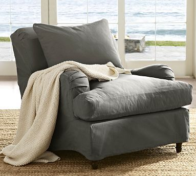 I want two of these chairs for our Family Room - LOVE them!!!!  Carlisle Slipcovered Armchair #potterybarn
