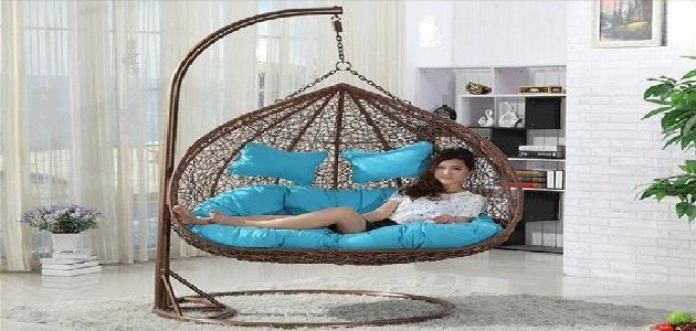 Double Wide Rattan Hanging Chair