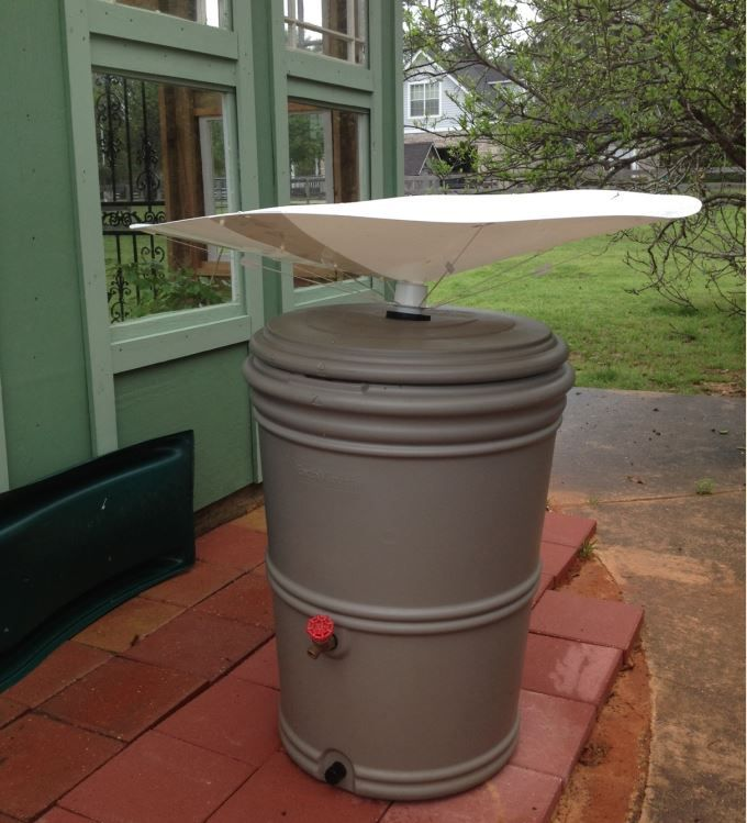 """This customer in Alabama installed a 48"""" RainSaucer into an EarthMinded Rainstation."""