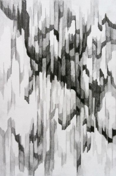 Textural Pattern - graphite on paper, monochrome surface pattern design with a sense of depth // An Hoang