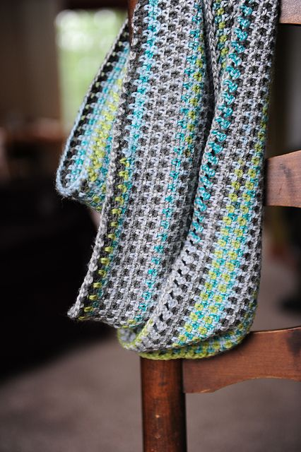 calm cowl. crocheted in self-striping sock yarn. free pattern.  love this longer skinnier version by michelleinWI.