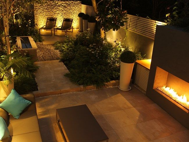 Garden after dark: Small London garden hits all the right notes.