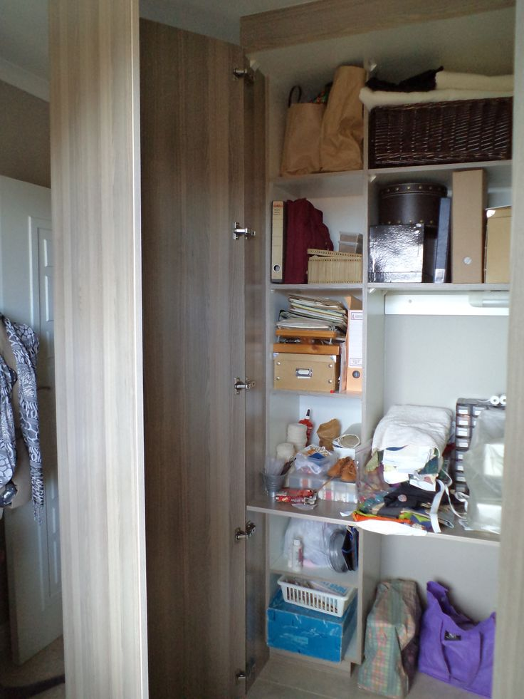 Sewing cupboard with doors open