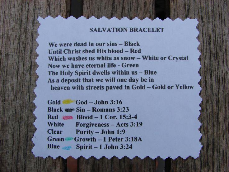 salvation bracelet what the colors mean sunday school
