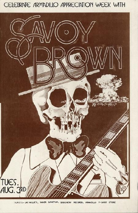 Original concert poster for Savoy Brown at The Armadillo World Headquarters in Austin, Texas in 1976. 11 x 17 inches.  Light handling marks, creases, corner bends and staple holes.