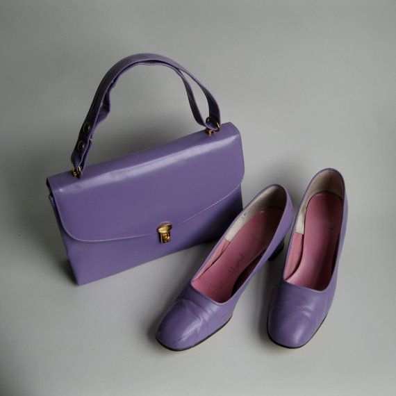 Vintage 1960s Purse Shoes Pansy Purple Leather Vinyl Mad Men Bridal Fashions Size 8 9. $75.00, via Etsy.