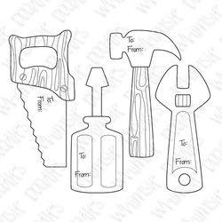 digi,tools,handsaw,hammer,screwdriver,wrench,tags,dad