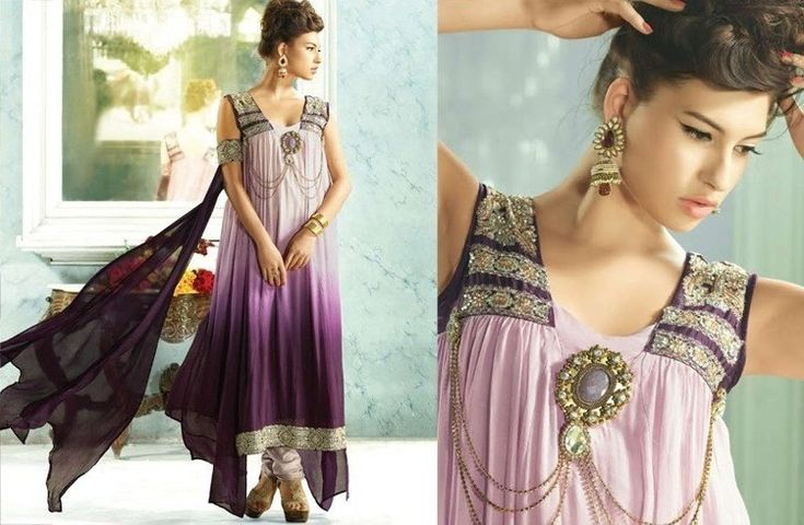 This double-shaded purple anarkali is equally attractive and can go with any occasion or event. Did you notice the dupatta, the way it is wrapped around one sleep? It partially plays the role of the a flowing robe.