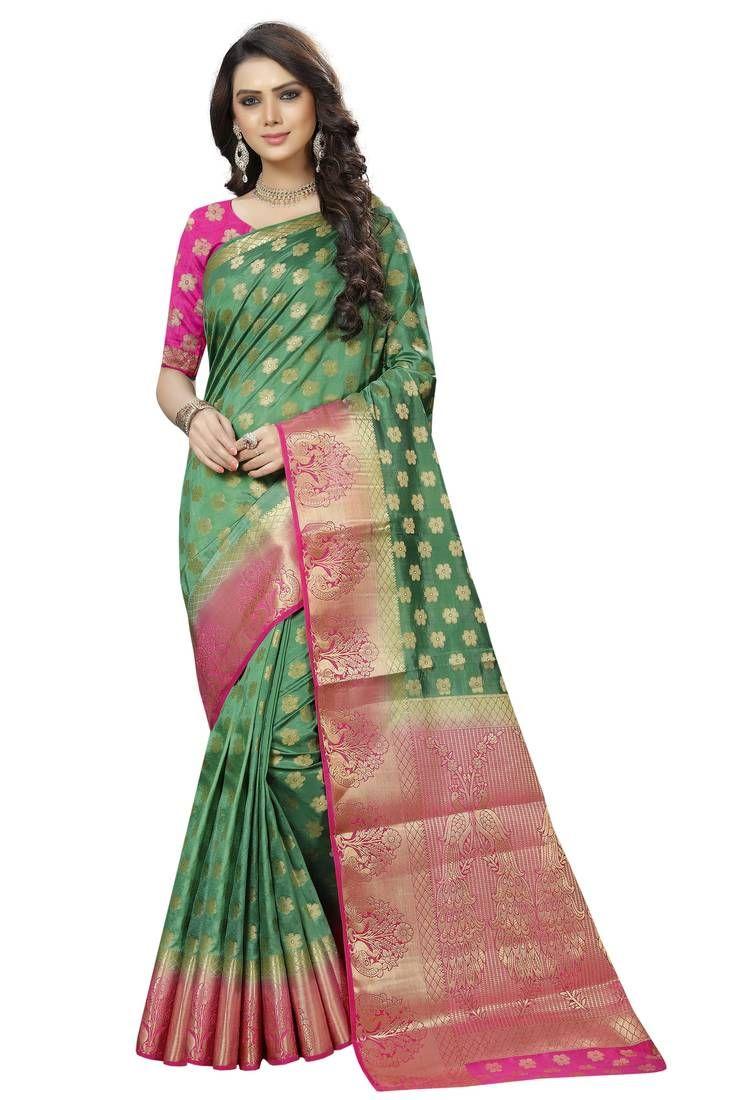 1bfae7d4aa0303 Green woven banarasi saree with blouse in 2019