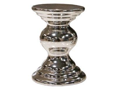 Lysestakeblank sølv for kubbelys.Størrelse:H:12cmD:9cm