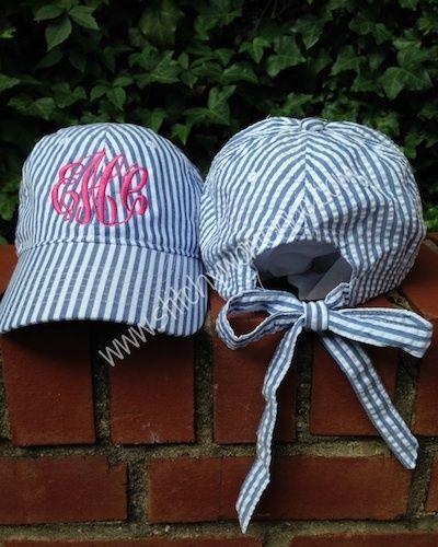Ladies Baseball Cap, Seersucker, with bow, Preppy Baseball Cap #BaseballCap
