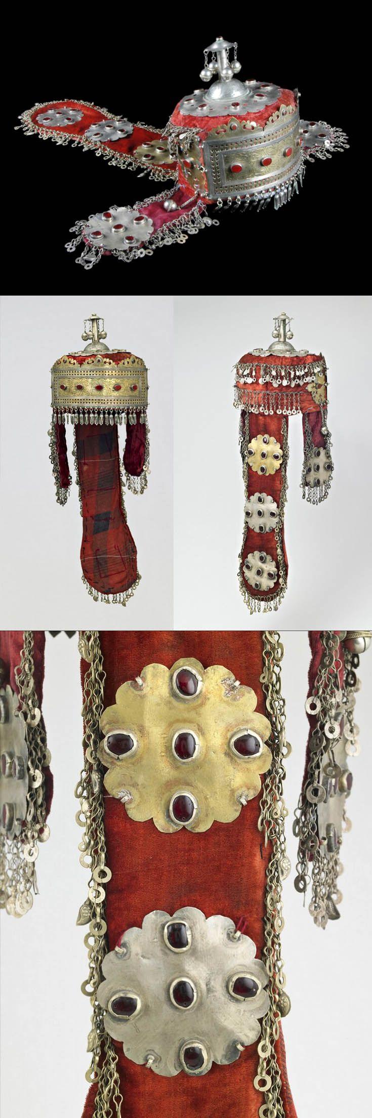 Turkmenistan | Tekke bridal finery; married woman's headdress; velvet, silver, gilt silver, carnelian | ca. early 20th century //  ©Quai Branly Museum. 70.2007.27.1