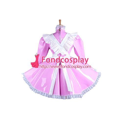 Free Shipping Pink PVC Lockable Sissy Maid Dress Vinyl Uniform Tailor-Made