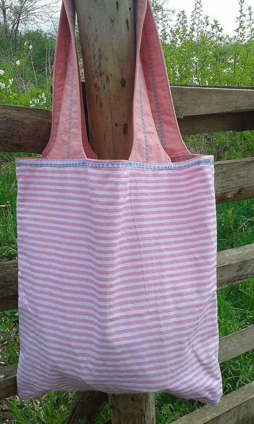 lienka97 / Nákupná taška s ružovými pásikmi