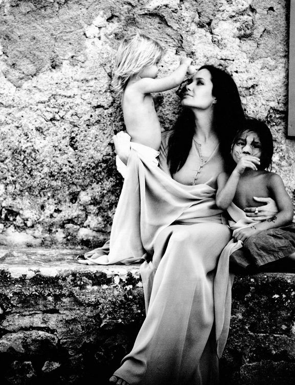 Angelina Jolie with Shiloh and Pax by Annie Leibovitz