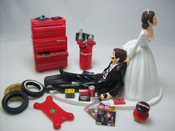 ** Hair Color changes are Free ** Please add a note of changes when you order. Thank you!  Auto Mechanic Wedding Cake Topper Grooms Cake  This wedding cake topper is perfect for the auto loving man and the patient woman trying to drag her groom to the altar! And just think, you can also leave this sitting out in your home as an awesome and super creative memorabilia item of your love and deep car interest. Perfect for the car fanatics ready to celebrate in a funny and personal way. This…