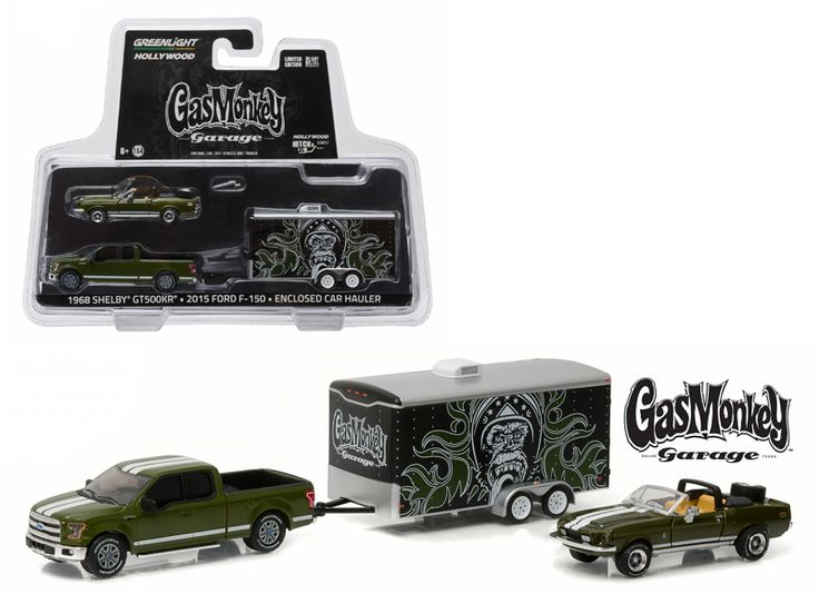 "2015 Ford F-150 Green and 1968 Shelby GT500KR Convertible Green with Enclosed Car Hauler ""Gas Monkey Garage"" (2012-Current TV Series ) 1/64 Diecast Model Cars by Greenlight - Brand new 1:64 scale car models of 2015 Ford F-150 Green and 1968 Shelby GT500KR Convertible Green with Enclosed Car Hauler ""Gas Monkey Garage"" (2012-Current TV Series ) die cast car models by Greenlight. Limited Edition. Detailed Interior, Exterior. Metal Body. Comes in a blister pack. Officially Licensed Product…"