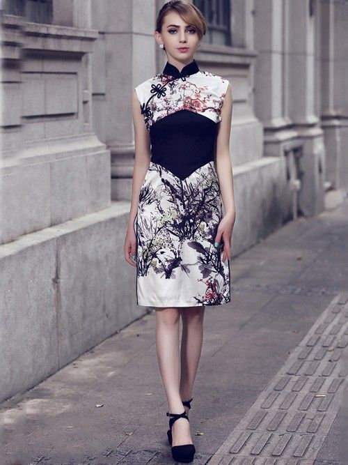 Contrast Silk Qipao / Cheongsam Dress with Floral Pattern