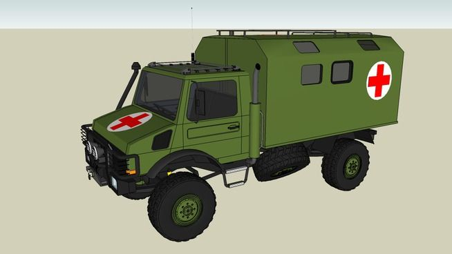 Large preview of 3D Model of Mercedes Unimog as military ambulance