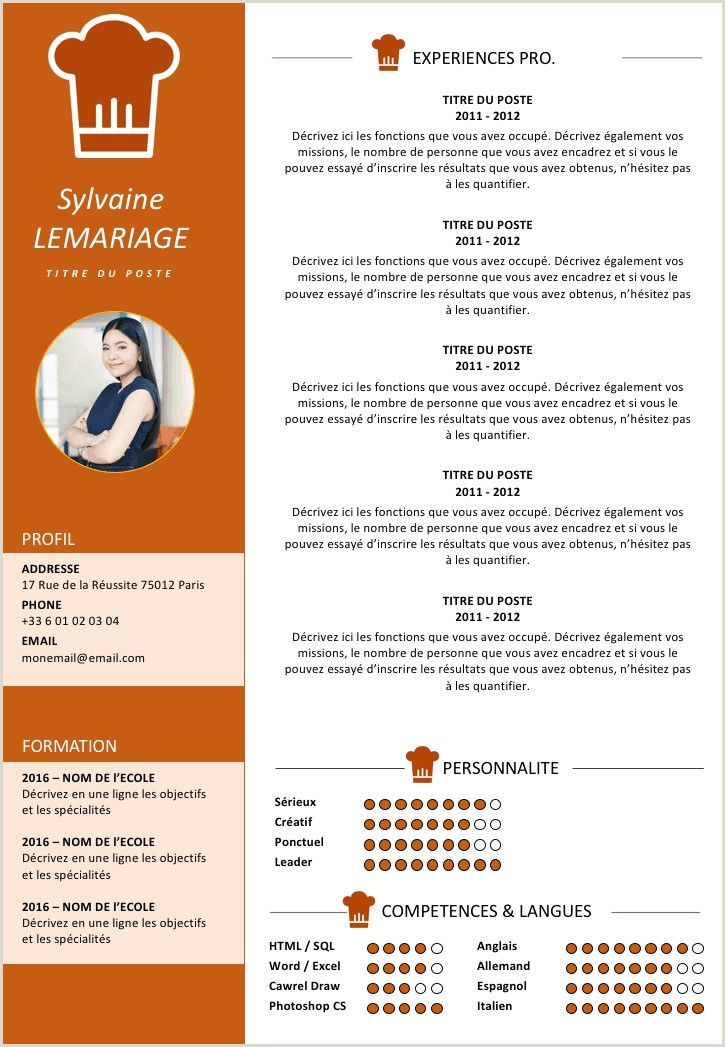 Exemple De Cv Quebecoise in 2020 Cv design, Resume words
