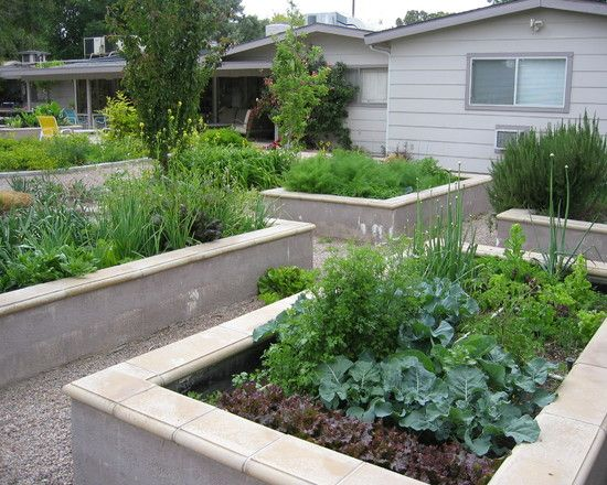 Like the cement raised beds. You could paint them & put murals or any design you want on the sides.