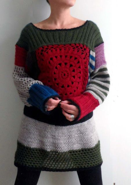 omⒶ KOPPA: Love this idea, reused knit sweaters and new crochet.