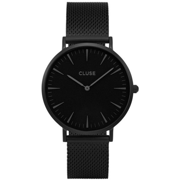Cluse Cluse La BohÈMe All Black Mesh Bracelet Ladies Watch ($91) ❤ liked on Polyvore featuring jewelry, watches, dial watches, quartz movement watches, peace sign jewelry, leather-strap watches and peace jewelry
