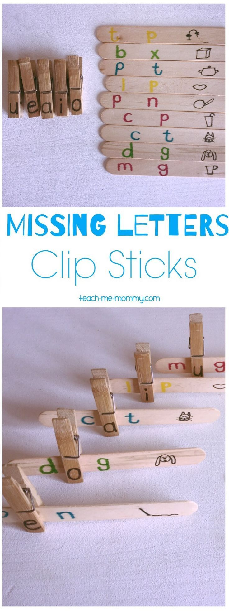 Awesome idea to work on spelling! Missing Letters Clip Sticks! Great for kindergartners!