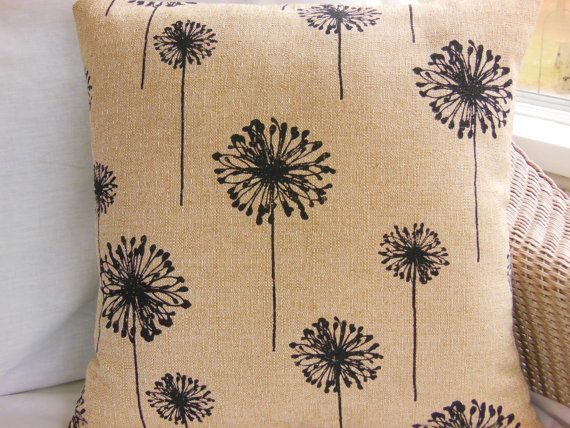Beige Black Pillows Throw Pillows Decorative by SeamsToMe23