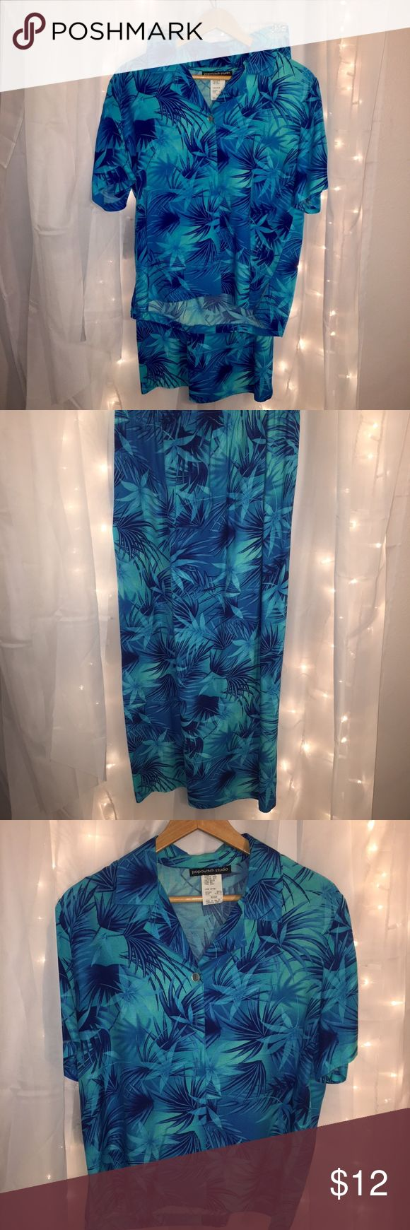 Blue & Turquoise Tropical Print Shirt & Skirt Set This set includes a matching top and skirt. The top is short sleeve, button up and collared. The skirt is floor length. Both have a blue and turquoise tropical floral pattern all over.   Willing to separate if you're interested in just one piece. Skirts Maxi