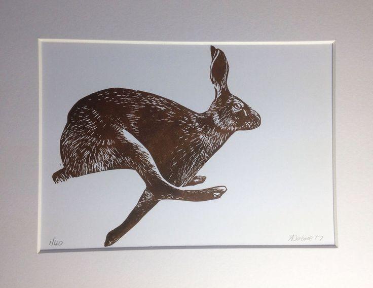 Running #Hare #Linocut #linoprint  print, #animals , Gifts, Mounted, Original by AJ #Impressionist