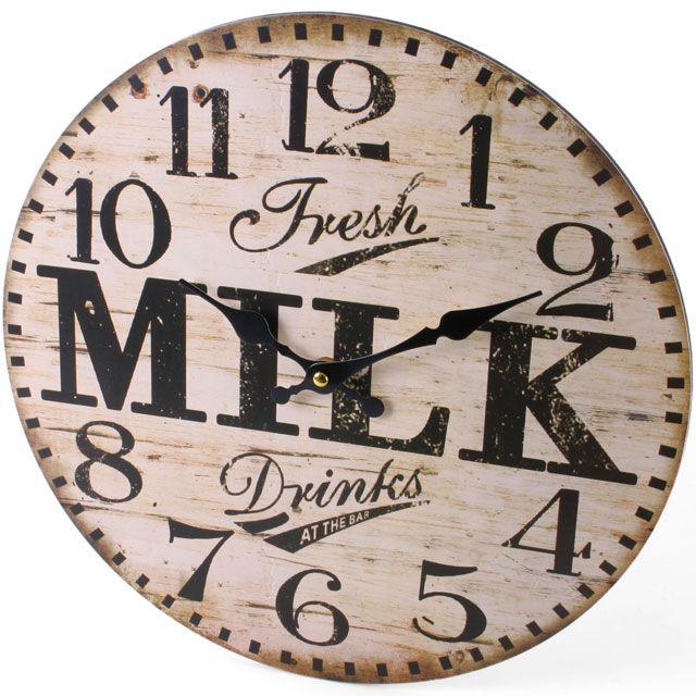 Fresh Milk Clock (measures approx. 34cm across)