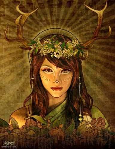 Brigit is the Celtic triple goddess. A fiery goddess who tirelessly protects those who call upon her. She is a feminine counterpart to Archangel Michael's warrior energy and was transitioned to St. Brigid by the Catholic church to bridge the Pagan and Christian divide.: