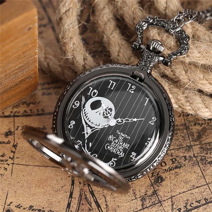Jack Skellington Tim Burton Movie Kid Toys Watches Fashion Black Quarzt Pocket Watch, Pocket & Fob Watches Age Group: Adult, Teen, Children Case Color: Black Face Color: Black Features: 12-Hour Dial Closure: Half Hunter Intended Use: anniversary, birthday, christmas, New Year's Eve, Boxing Day Subject Matter: Autumn, Winter, Summer, Spring Watch Shape: Round   100% Brand New and High Quality. Movement: Quartz Diameter: Approx. 4.7cm Thickness: Approx.1.4cm Total Length of Chain: Approx. 80…