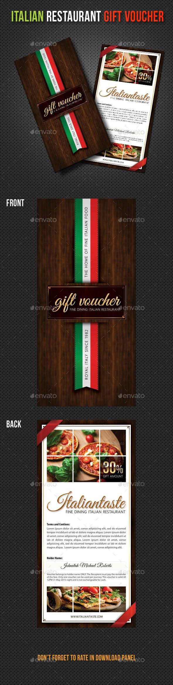 Italian Restaurant Menu Gift Voucher