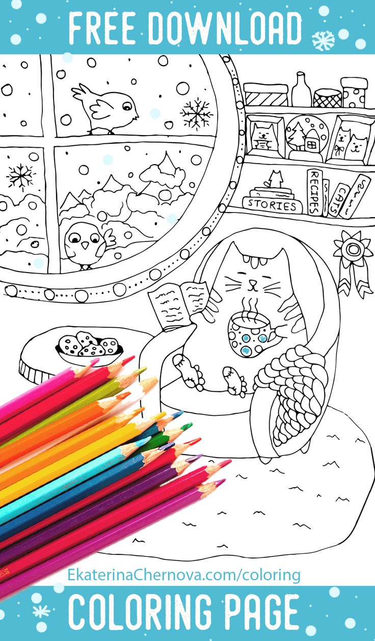 Winter flower coloring pages - Free Download Winter Cat Coloring Page