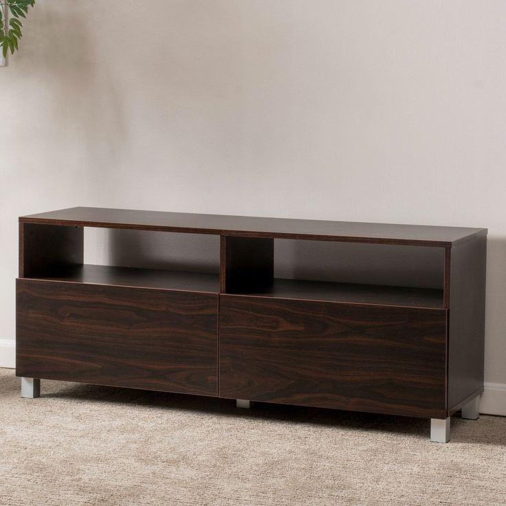 Dark Walnut Finish Contemporary TV Stand - Accommodates Up To 50 Inch TV