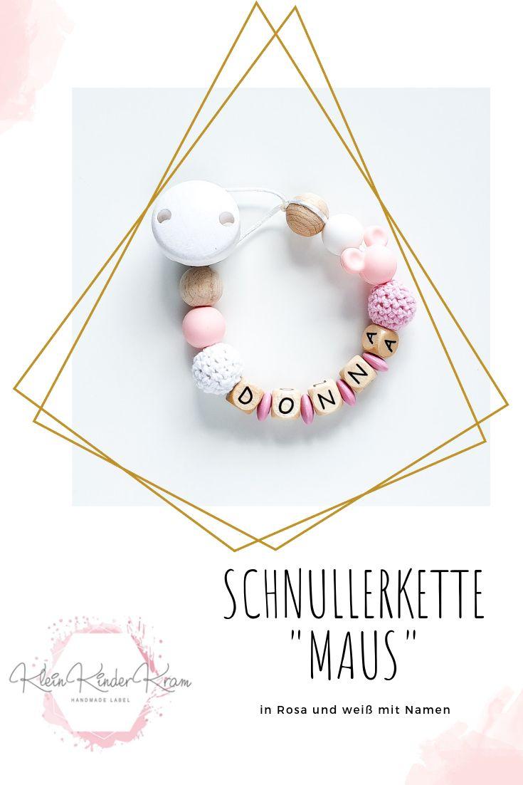Schnullerkette mit Namen Baby Minnie rosa Herz Nucki Mädchen