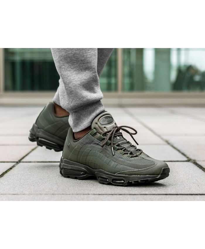 online retailer 2f6d2 c070a Nike Air Max 95 Ultra Essential Trainers In Cargo Khaki Black