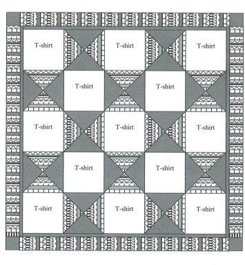 This one reflects my traditional quilting roots and presents a more formal, regimented appearance. This pattern also works well with T Shirt blocks of the ...